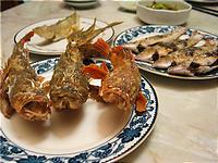 釣れたて魚の天ぷらと塩焼き。