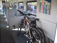 自転車と一緒に車内へ
